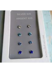 Komplet błękitnych kolczyków srebro925