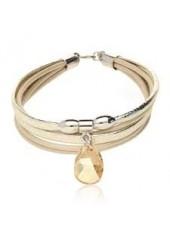 Skórzana bransoletka z Kryształem Swarovskiego Lemoniq złota
