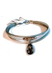 Skórzana bransoletka z Kryształem Swarovskiego Lemoniq srebrna