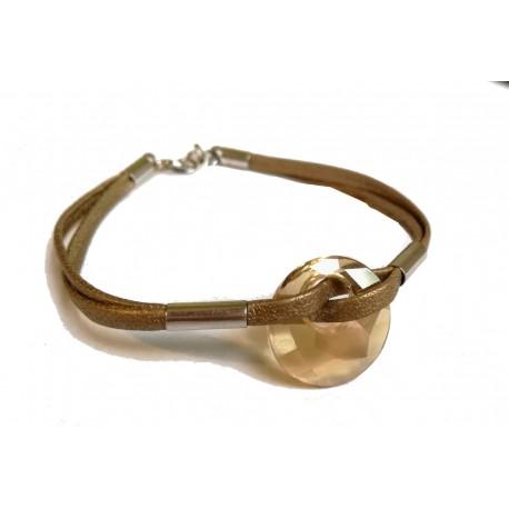 Skórzana bransoletka z Kryształem Swarovskiego Elipse złota