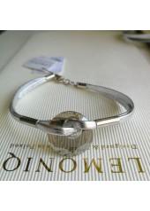 Skórzana bransoletka z Kryształem Swarowskiego Elipse srebrna