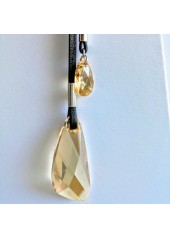 Skórzany naszyjnik z Kryształami Swarovski Brilliant Miodowy