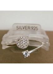 Oczko - Srebrny pierścionek z cyrkoniami, srebro pr 925