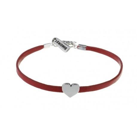 Czerwona skórzana bransoletka z sercem Twins lemoniq